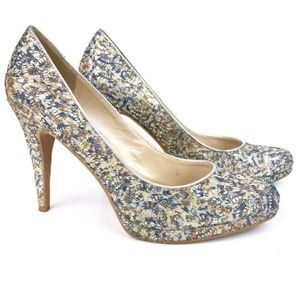 Nine West | Rocha Silver Glitter Pumps Heels 9